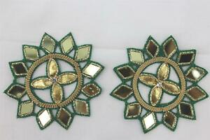 Patches - Thread Embroidery Handmade Zari Work  Pack of 2 Pcs - 8 x 8 cm