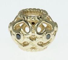 14K Yellow Gold ALE Pandora Charm Black Diamond
