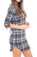 Womens Hi Neck Tie Knot Arm Checked Tartan Print Shift Dress Party Top Xmas Gift Grey Check UK 10