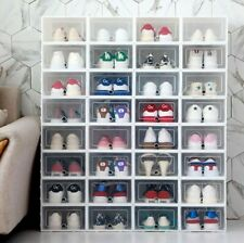 Home Plastic Clear Shoe Boot Box Stackable Foldable Storage Organizer Case UK