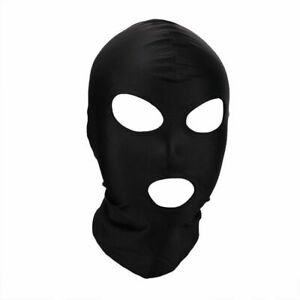 UK Black Spandex Stretchy Gimp Mask 3 Hole Face Hood Fun Stag & Hen Nights Party