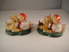 """Vintage Holt Howard 1959 Japan Ceramic Candle Holders Angel With Deer 4"""" Vgc"""