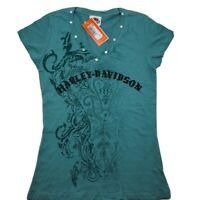Womens Harley-Davidson Small Short Sleeve Shirt Women's V-Neck Top Ladies