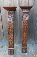 Pair Large Carved Antique Oak Corbels Hand Carved Wood Pediments Architectural