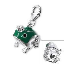 925 Sterling Silver 3D Green Frog Animal Pet Clip-on Bracelet Charm Gift C382