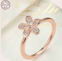 925 ROSE GOLD PLATED DAISY RING STACKING 8(Q) CRYSTALS LADY GIFT BRIDE AF2