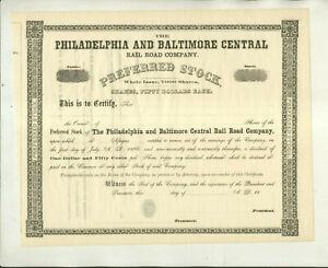 UNISSUED PHILADELPHIA & BALTIMORE CENTRAL RAIL ROAD COMPANY STOCK CERTIFICATE