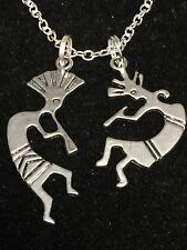 "African Tribal Kokopelli Flute Players Striped Charm Tibetan Silver 18"" Necklace"