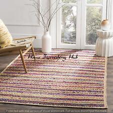 Jute Cotton Braided Reversible Floor 5 x 8 Ft Handmade Decorative Carpet Rag Rug