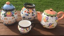 New ListingMe Ink Mary Engelbreit Teapot Lid Cup 2 Canister Pots & A Lid Flowers Guc