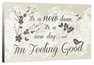 It's a New Dawn Feel Good, Quote Flower Butterfly - Canvas Print Picture