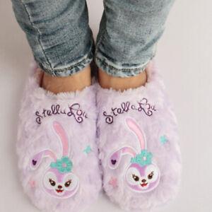stellelou rabbit purple FUZZY indoor slippers shoes slipper X'mas gift