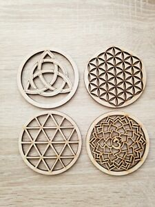 4pcs MIX F Sacred Wooden Coasters Grid Fleur De Vie Seed Of Life Flower of Life
