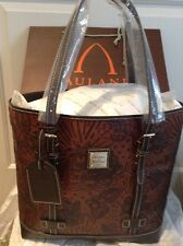 NEW DOONEY BOURKE DISNEY AULANI MICKEY/MINNI MOUSE CHIP/DALE COGNAC LEATHER TOTE