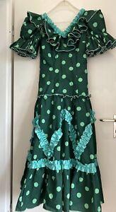 Flamenco Kleid Gr. 44(eher wie 38-40)grün mit hellgrünen Punkten - aus Sevilla