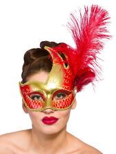 Donna Masquerade Maschera Costume Burlesque Carnevale LEONARDO GOLD & Rosso Nuovo