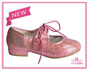 PINK Sparkle Glitter Hologram Tap Shoes Toddler Infant Girls 6,7,8,9,10,11,12,13