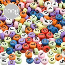 Mixed Colour Alphabet Round Acrylic Letter Beads 100g (A87/8)