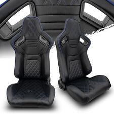 Black Pvc Leatherblack Stitch Leftright Recaro Style Racing Seats Pair