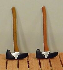 Wood Handled Axes (2) w Rubber Boots Miniatures 1/24 Scale Diorama Accessories
