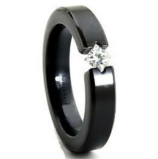 Black Plated TITANIUM High Polished TENSION RING with 4mm SQUARE CZ, size 7