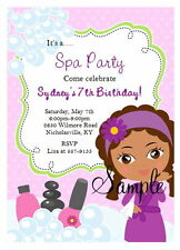 12 Personalized Girls African American Spa Party Birthday Invitations Manicure