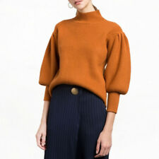Women Fashion Long Balloon Sleeve Turtleneck Knitted Top Casual Pullover Sweater
