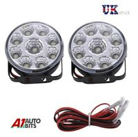 """DRL Daytime Running Lights Lamps 70mm/2.75"""" Round 6000k 2 x 9 Clear White LED E4"""