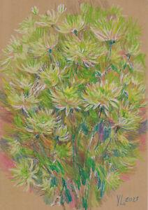original drawing A4 275YL art samovar modern pastel flowers Signed 2021