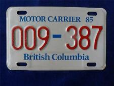 BRITISH COLUMBIA MOTOR CARRIER LICENSE PLATE 1985 CANADA MAN CAVE METAL SIGN