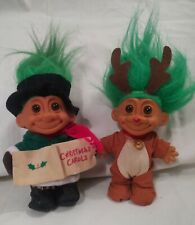 "New ListingLot/2 vintage Russ Christmas Troll Reindeer Christmas Caroler Green Hair 8"""
