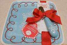 HALLMARK NORTHPOLE FUN SPREADER & SNOWFLAKE PARTY PLATE CHEESE KNIFE & DISH SET