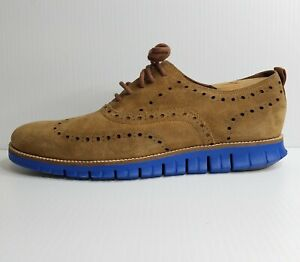 Cole Haan Size 12M Zerogrand Wingtip Oxford Shoes Brown Suede Blue Sole C25547