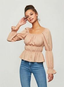 Miss Selfridge Womens Gold Satin Multi Puff Top Shirt Blouse Long Sleeve