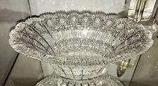 Amazing Czech Bohemian Crystal QUEENS LACE Cut Crystal Centerpiece Bowl