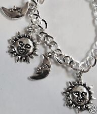MOON AND SUN SILVER TONE HANDMADE CHARM BRACELET CHOICE 18-21CM