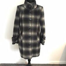 Debenhams The Collection Petite Grey Black White Check Wool Blend Coat Size 12