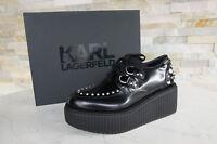 KARL LAGERFELD 38 UK 5 US 7 Plateau Schnürschuhe Schuhe schwarz NEU ehemUVP 199€