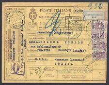 STORIA POSTALE REGNO 1926 Modulo Pacchi Postali 3L da Camerano a Jemappes (E8)