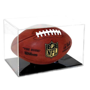 NEW Ballqube Grandstand Full Size Football Display Case Box- Black Base - 98% UV