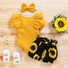 Newborn Baby Girl 3PCS Clothes Floral Romper Jumpsuit Shorts Headband Outfit Set
