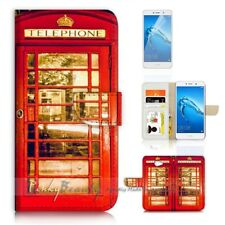 ( For Huawei Y7 ) Wallet Case Cover P21051 Red Phone Booth British