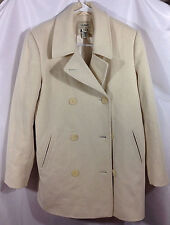 LL Bean Wool & Cashmere Ivory Pea Coat SZ 8 Regular Double Breasted THINSULATE