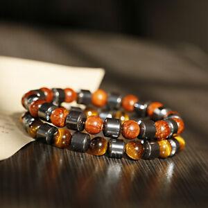 2 Pcs Men's Hematite Tiger Eye Bracelets 8MM Wood Yoga Energy Healing Bracelets