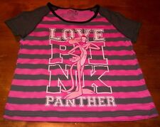 VINTAGE STYLE WOMEN'S TEEN PINK PANTHER LOVE PINK T-shirt Size 3/5 SMALL NEW