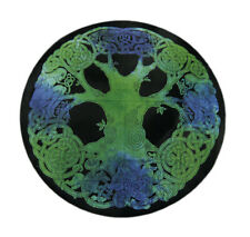 Green and Black Cotton Celtic Tree of Life Round Tapestry