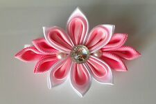 Handmade White Pink Kanzashi Style Fabric Flower Hair Accessory Clip Barrette