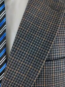 Hart Schaffner Marx Gray Check Wool 2 Button Sport Coat Jacket Gingham Mens 42R