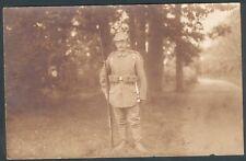 Postkarte Soldat Nique aus Güstrow, im Wald, braun, um 1915, ungelaufen, II