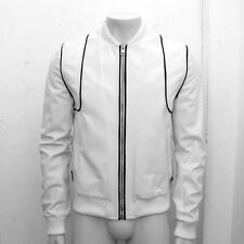 NEW Mens Dior Homme White & Black Leather Bomber Harrington Jacket Size: 50 (L)